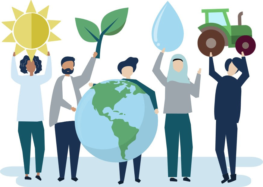 Sustainability is for everyone. Cartoon of various peoples worldwide.