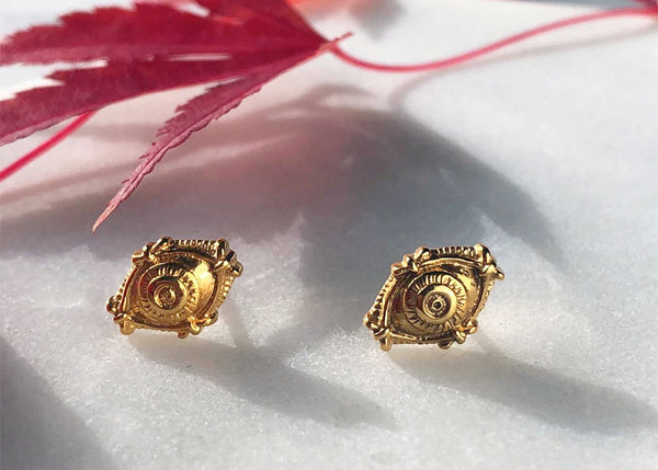 Ethically gifts under $50. Evil Eye gold Stud earrings