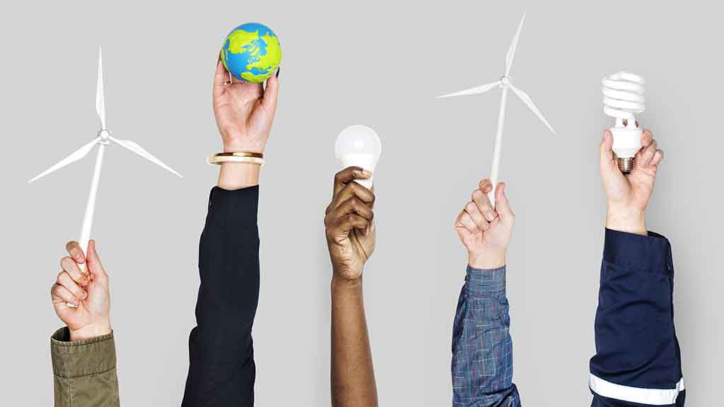 Sustainability. Hands each holding various objects such as led lightbulb, windmill, and globe