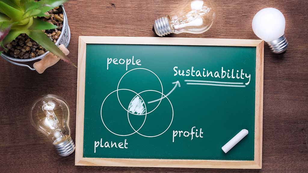 Sustainability Venn diagram explaining that sustainability is where  people, planet and profits intersect
