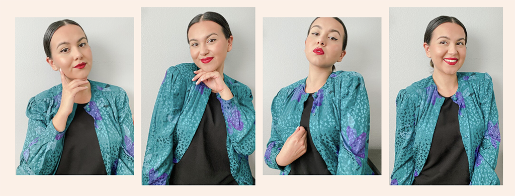Sustainable and ethical fashion blogger Lesley-Anne. Multiple images of her posing in a bright green jacket.