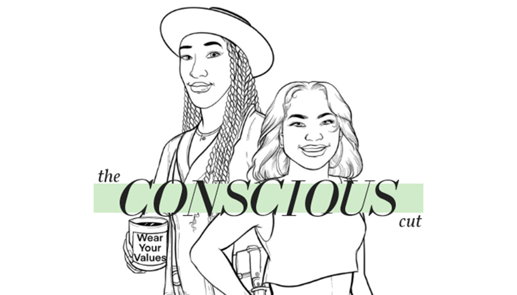 """Podcast on Ethical Fashion, """"The Conscious Cut"""". Cartoon style logo. Black lines on white background of the two hosts."""