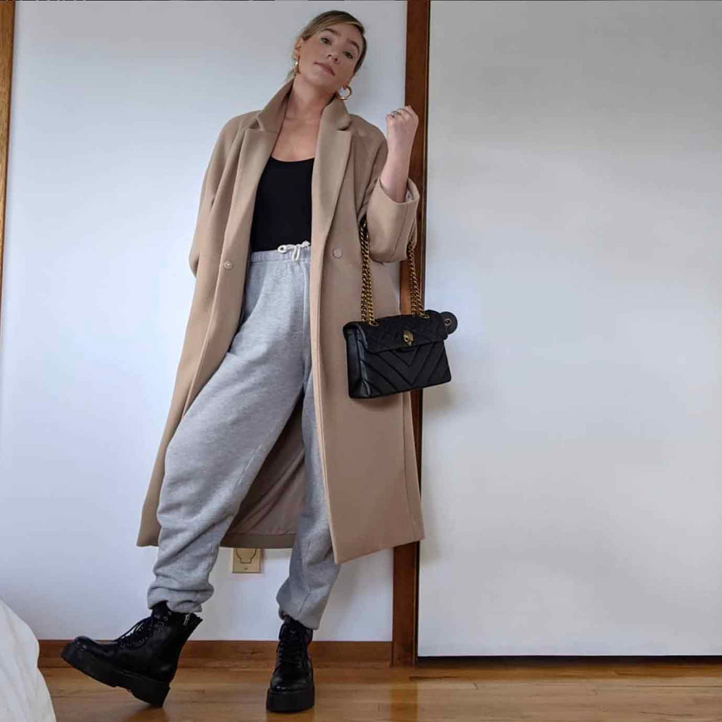 How to style your capsule wardrobe basics including sweatpants, bodysuit and overcoat.