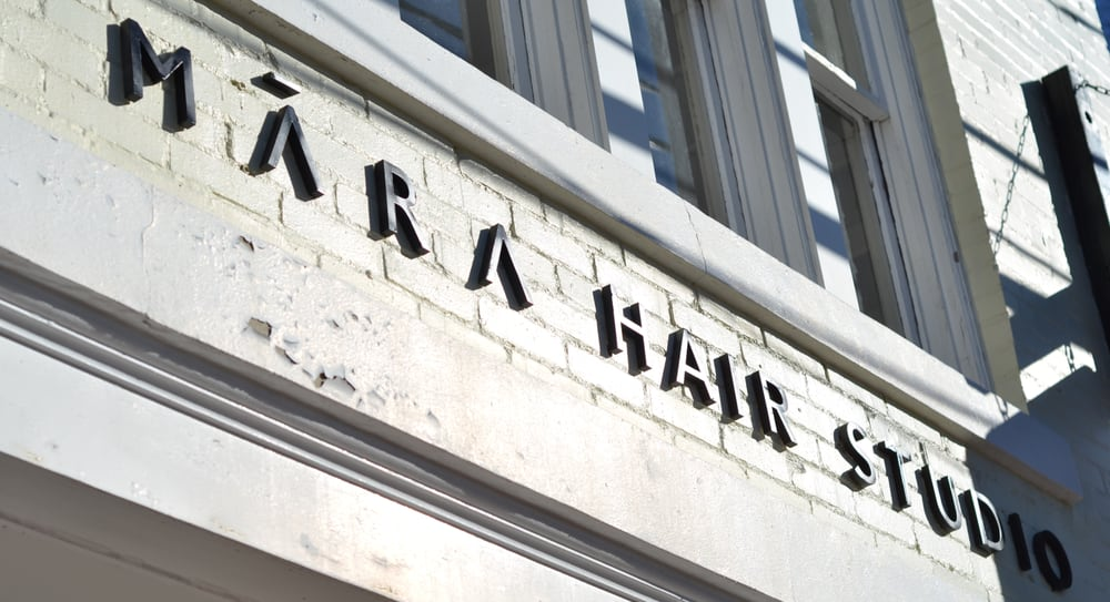 Astor + Orion stockist, Mara Mode Hair studio sign