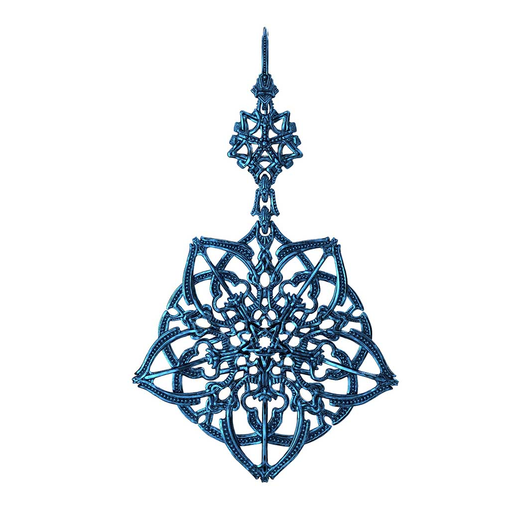 rendering show complex and interlocking geometry of jewelry designed in Zbrush. Looks similar to antique filigree but more modern
