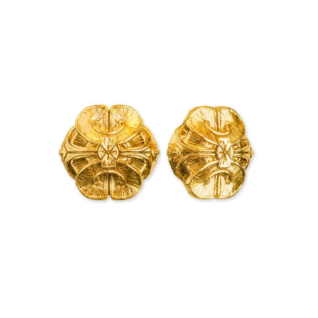 Scallop Stud Earrings- 18k Gold