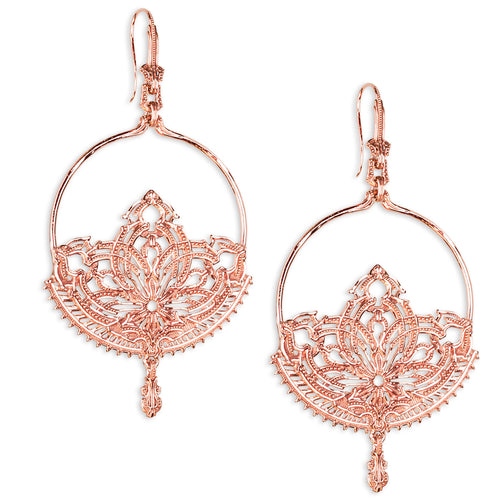 Lotus Dangle Earrings- Rose Gold