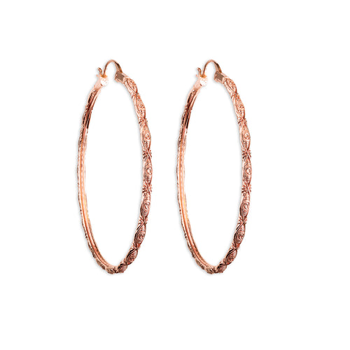 Astor + Orion Amorra Hoop Earrings. Featuring repeating eye design. Sustainably made form recycled metals
