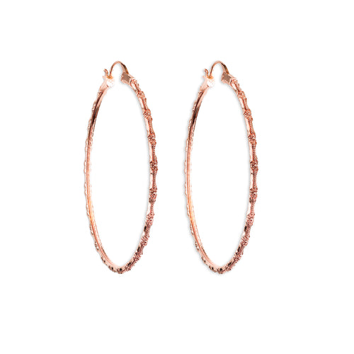Bamboo Rose Gold Hoop Earrings