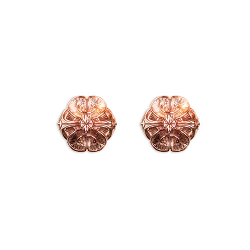 Scallop Stud Earrings- Rose Gold