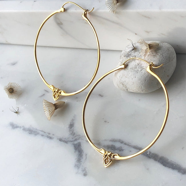 Amorette Gold Minimalist Hoop Earrings - ASTOR + ORION ethically made jewelry