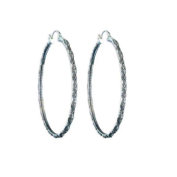 Amorra Evil Eye Silver Hoop Earrings - ASTOR + ORION ethically made jewelry