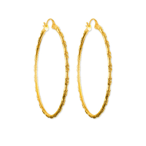 Bamboo Gold Hoop Earrings - ASTOR + ORION ethically made jewelry