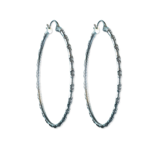 Bamboo Silver Hoop Earrings - ASTOR + ORION ethically made jewelry