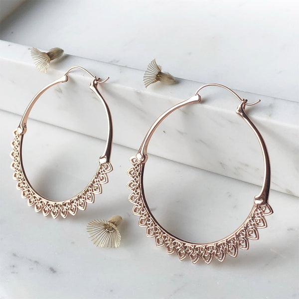Corazon- Rose Gold Hoop Earrings - ASTOR + ORION ethically made jewelry
