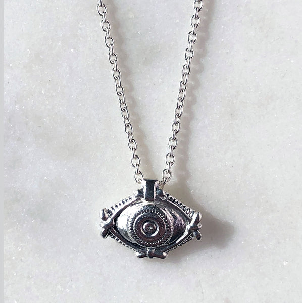Evil Eye Charm Necklace in Silver - ASTOR + ORION ethically made jewelry