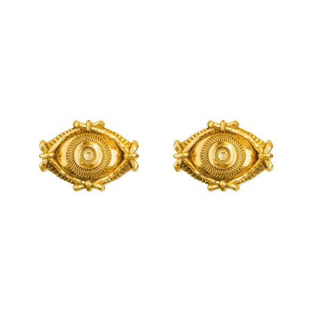 Pyramid Stud Earrings- 18k Gold
