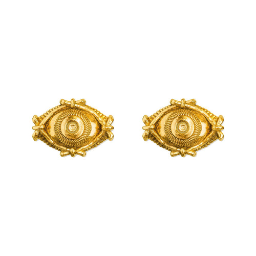 Evil Eye Gold Stud Earrings - ASTOR + ORION ethically made jewelry