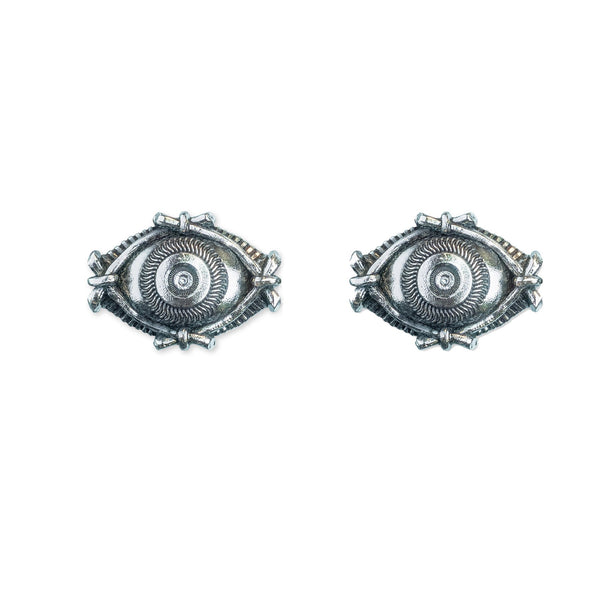 Evil Eye Silver Stud Earrings - ASTOR + ORION ethically made jewelry