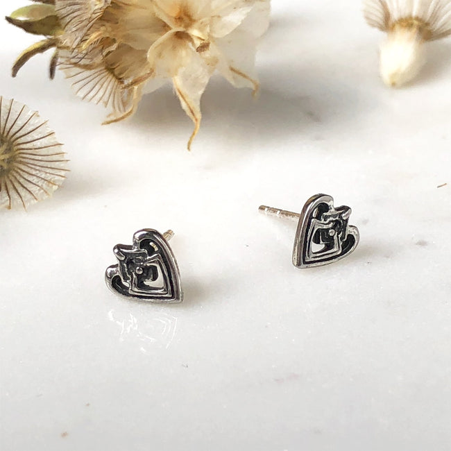 Heart Silver Stud Earrings - ASTOR + ORION ethically made jewelry
