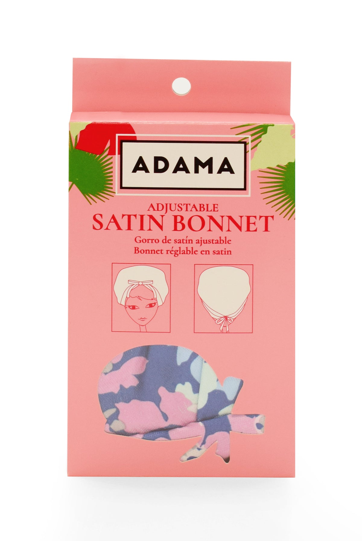 Adjustable Satin Bonnet - Forget-Me-Not Bloom | ADAMA BEAUTY CO. | Curly Haircare Accessories
