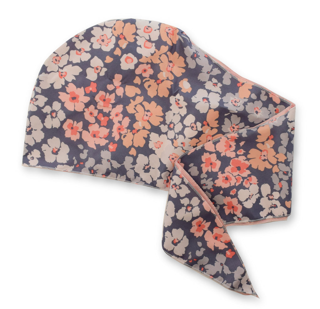Satin-Lined Wrap Cap - Floral - ADAMA BEAUTY CO.