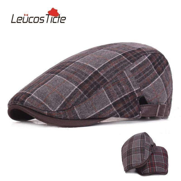 Acrylic Winter Newsboy Hat Red Plaid L-XL
