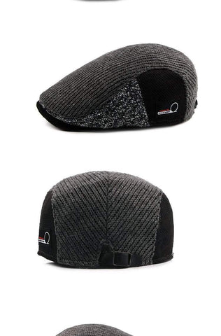 Image of Planet Gates 1 / 55-60CM Hat Men Patchwork Wool Knitted Hat, Cabbie Flat Caps Men Solid Color Cabbie Boina Flat