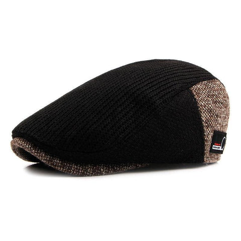 Image of Hat Men Patchwork Wool Knitted Hat, Cabbie Flat Caps Men Solid Color Cabbie Boina Flat