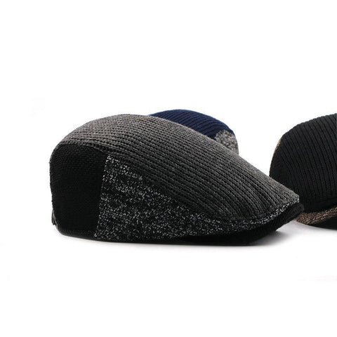 Planet Gates 1 / 55-60CM Hat Men Patchwork Wool Knitted Hat, Cabbie Flat Caps Men Solid Color Cabbie Boina Flat