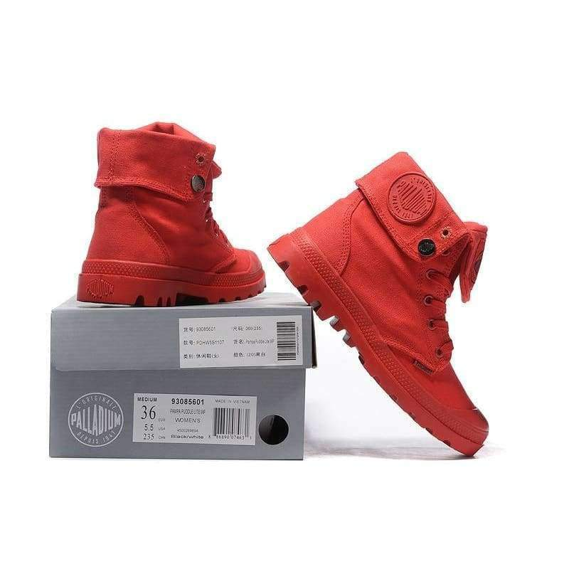 cfe69a5584c ... PALLADIUM Pallabrouse All Red Sneakers Men High-top Military Ankle. Tap  to expand