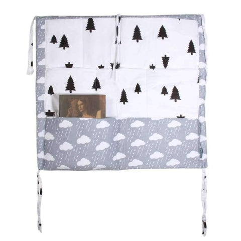 Image of Crib Baby Bed bumper Hanging Storage Bag Multi-functional muslin Baby Cot pocket Hanging Storage Bag Baby Bedding Bumper