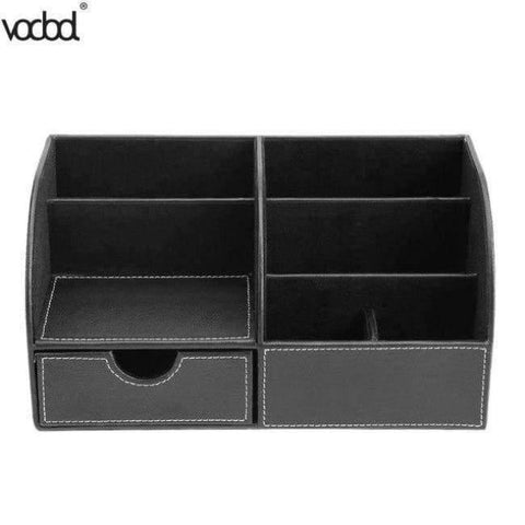 Planet Gates 1 PU Leather Office Desk Organizer Desktop Card Pencil Pen Holder Stationery Storage Box Container Accessories School Supplies