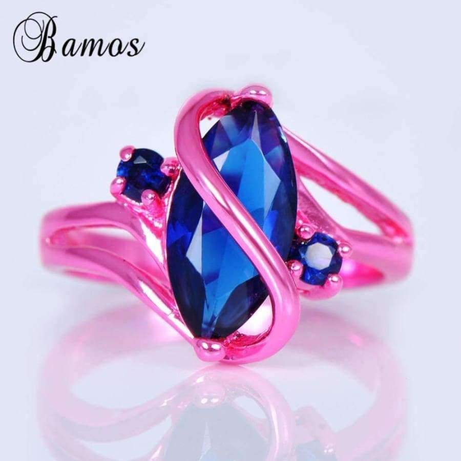 Planet Gates 10 Bamos Vintage S Style Blue Cubic Zircon Ring Pink Gold Filled Wedding Party Engagement Promise Rings For Women Men Anel RC0004
