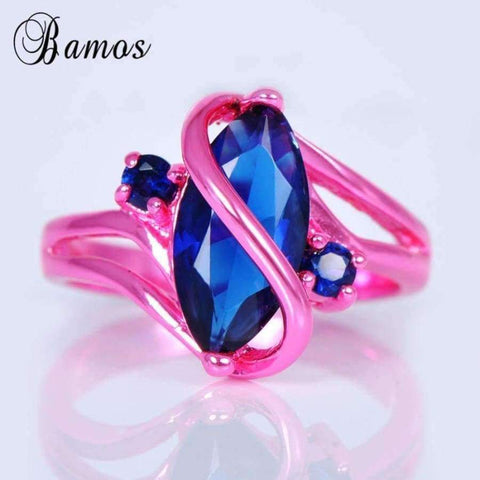 Image of Planet Gates 10 Bamos Vintage S Style Blue Cubic Zircon Ring Pink Gold Filled Wedding Party Engagement Promise Rings For Women Men Anel RC0004