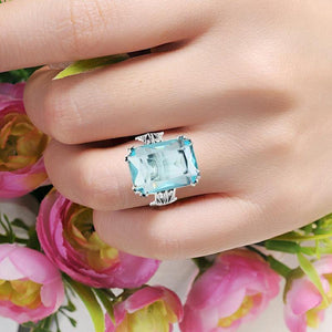 Handmade Vintage Women's 925 Sterling Silver Birthstones Sky Blue Crystal Wedding Ring Brand Jewelry