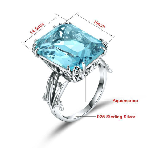 Image of Planet Gates 10 Handmade Vintage Women's 925 Sterling Silver Birthstones Sky Blue Crystal Wedding Ring Brand Jewelry