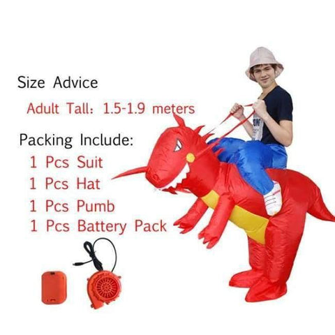 Planet Gates 1004 / One Size / Dinosaur Halloween costume for women inflatable dinosaur costumes for adults  men T-rex fancy dress kids adult Fan operated
