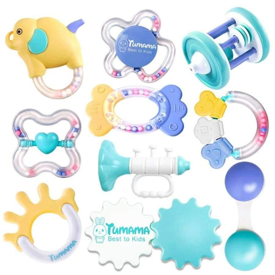 6 sets of baby teether rattle baby rattle newborn baby 0-1 educational toys E3W2