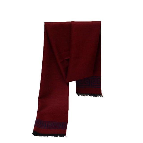 Image of Planet Gates 123-115winered / One Size Scarf luxury brand designer Men Classic Cashmere Scarves Winter Warm Soft Tassel fashion