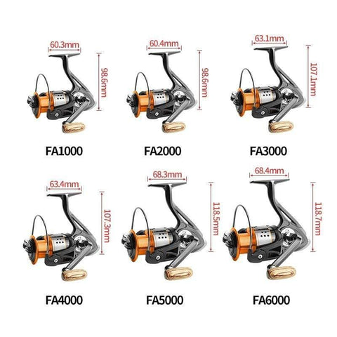 Planet Gates 13 / 1000 Series Spinning fishing reel 13BB No gap FA3000 4000 6000 All metal wheel 8KG Pike Orange black Spinning reel High Speed wheel carp