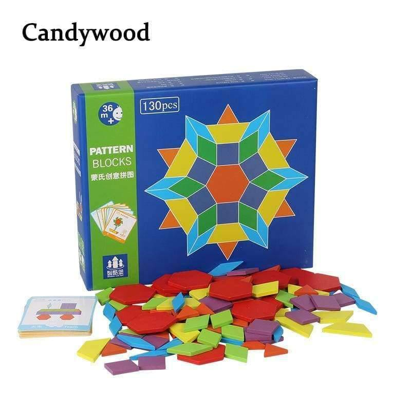 130 Pcs Wooden Puzzle Games Montessori Educational Toys For Children Jigsaw Puzzle Learning Wood Developing Toys For Boys Girls