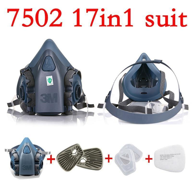 17 Dust Face 7502 Spray Mask 3m Half In Protection Gas 1 Respirator Painting
