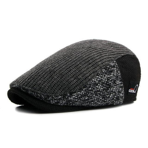 Planet Gates 2 / 55-60CM Hat Men Patchwork Wool Knitted Hat, Cabbie Flat Caps Men Solid Color Cabbie Boina Flat