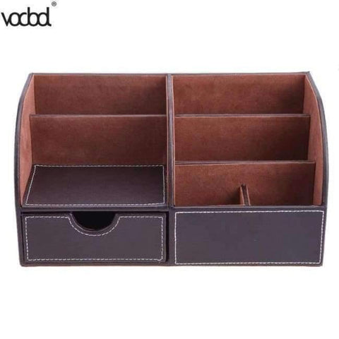 Pu Leather Office Desk Organizer Desktop Card Pencil Pen Holder Stationery Storage Box Container Accessories School Supplies - 2