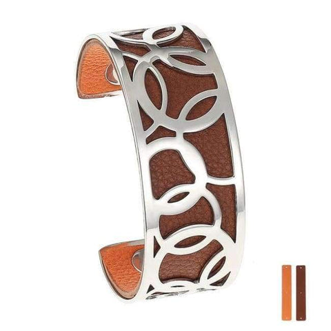 Planet Gates 25 mm 8 Legenstar Opening Cuff Bangle &Bracelet for Women Stainless Steel Bracelet Argent  Manchette Bangle Interchangeable Leather Band