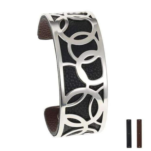 Planet Gates 25 mm 9 Legenstar Opening Cuff Bangle &Bracelet for Women Stainless Steel Bracelet Argent  Manchette Bangle Interchangeable Leather Band
