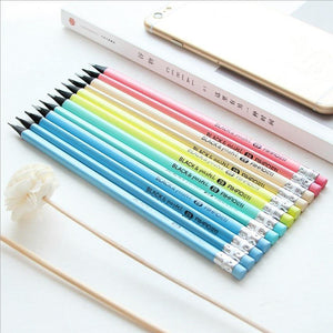 Planet Gates 2B 1 set HB/2B Standard Colors Pencils (with eraser), Triangular pen holder, Black wood, Writing or drawing