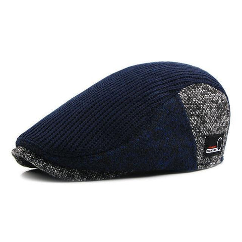 Planet Gates 3 / 55-60CM Hat Men Patchwork Wool Knitted Hat, Cabbie Flat Caps Men Solid Color Cabbie Boina Flat