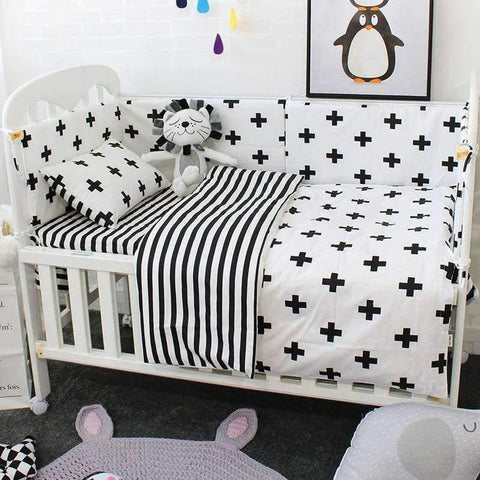 Image of Planet Gates 3 Pcs Baby Cot Bedding Set Soft Breathable Cotton Bed Linen For Children Including Quilt Pillow Bumper Flat Sheet Cradle Kit For Kids